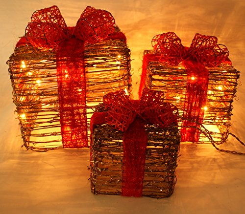 Forevercute Set of 3 Piece Lighted Rattan Gift Boxes Christmas Yard Art Decoration
