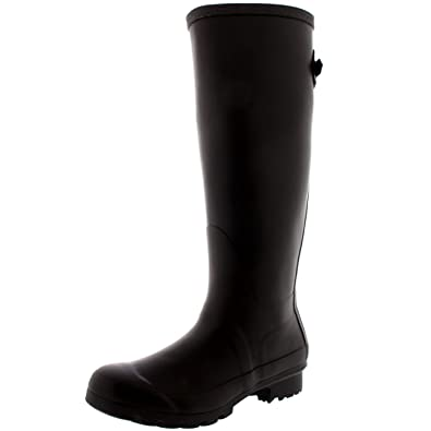 Amazon.com | Womens Adjustable Back Tall Winter Rain Wellies ...
