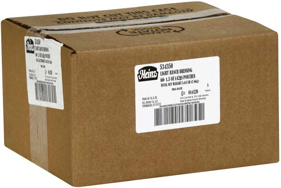 Heinz Light Ranch Dressing, 1.5-Ounce Portion Packs (Pack of 60 ...