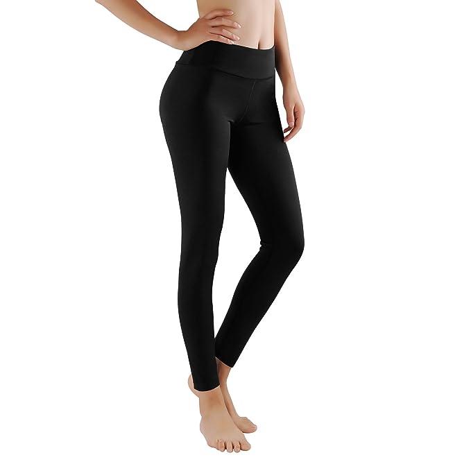 GoVia leggins para damas pantalones deportivos largos para Training Running Yoga Fitness transpirables con cintura alta 4106 Negro S