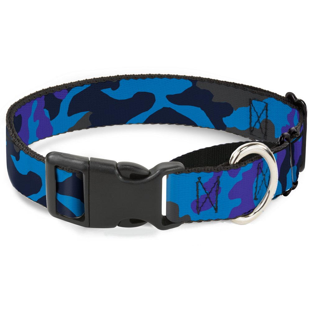 Buckle-Down Camo bluee Martingale Dog Collar, 1  Wide-Fits 11-17  Neck-Medium