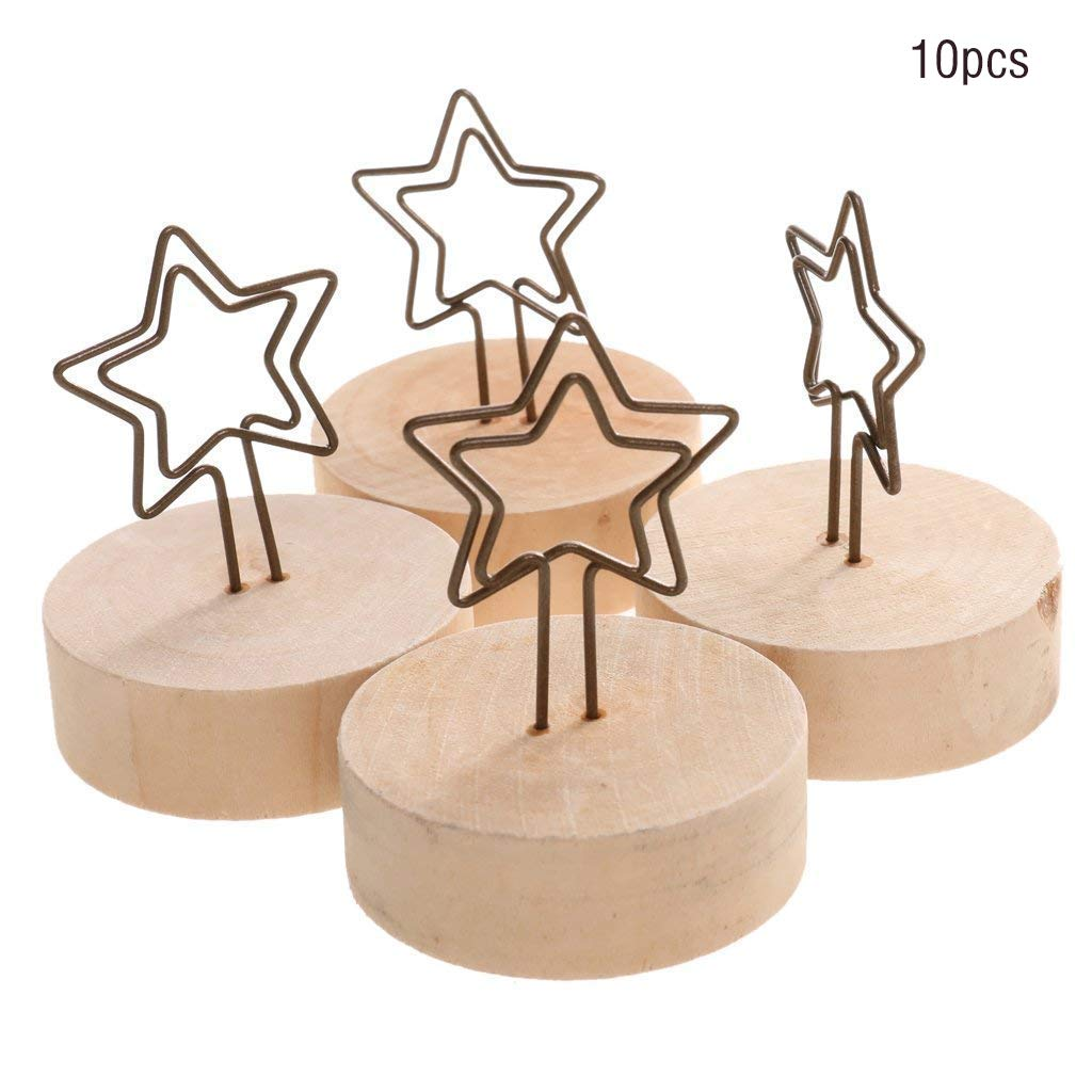 10pcs Desk Memo Table Number Clip Holders Stand Wood Base Wedding Card Holders for Picture Paper Note Menu Price Tag Star Stationery Office Supplies Cost-effective and Good Quality