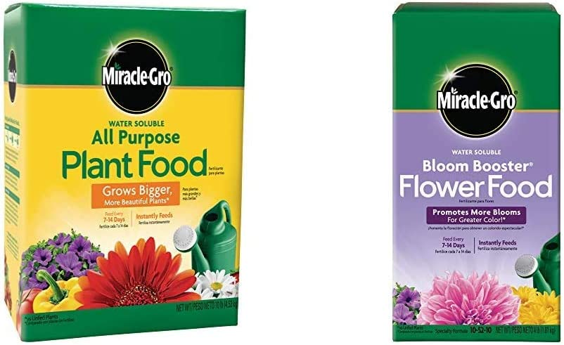 Miracle-Gro Water Soluble All Purpose Plant Food, 10 Lb & Water Soluble Bloom Booster Flower Food 4 lb