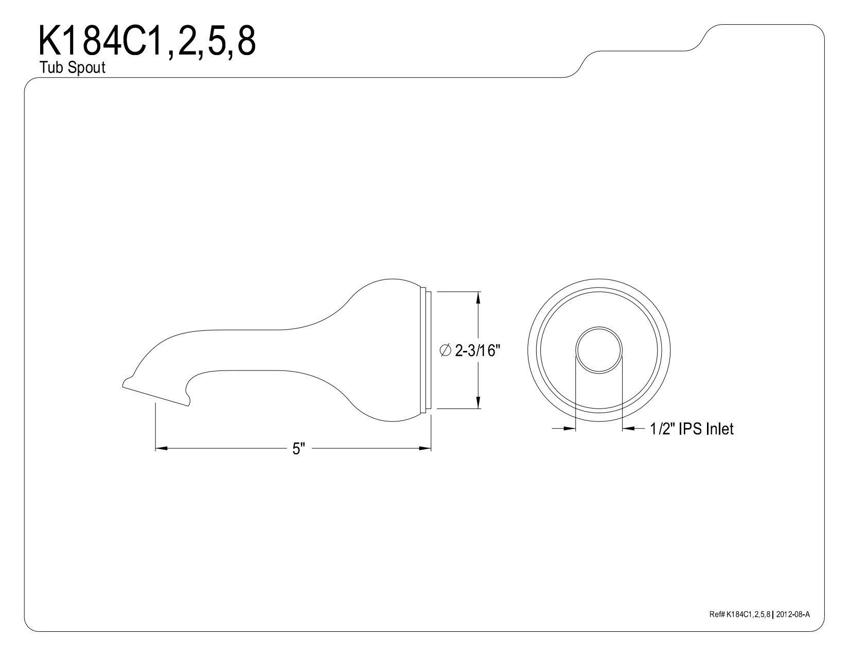 Kingston Brass K184C1 Designer Trimscape Showerscape 5-Inch Tub Spout, Polished Chrome