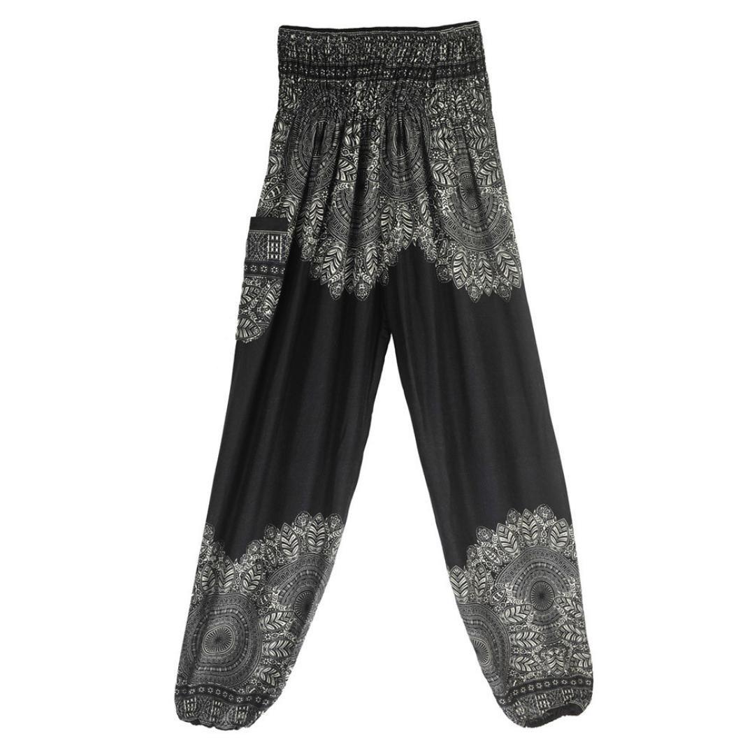 fdc3652b4f Amazon.com: Boho Harem Pants for Men Women Bohemian Summer Loose High  Waisted Yoga Pant with Pockets (Black, Free Size): Clothing