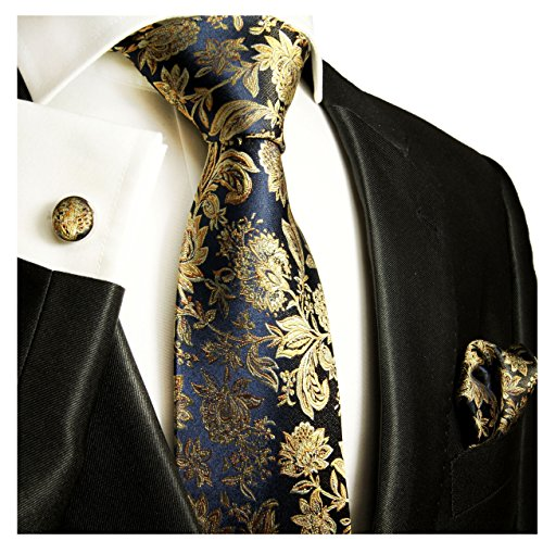 Dark Navy and Gold Necktie, Pocket Square and Cufflinks by Paul Malone