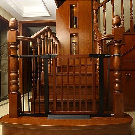 PNFP Puertas for bebés Puertas de Madera Extra Anchas for escaleras, Soportes de presión Puerta de Metal for Mascotas con Puerta de Gato, 110-117 cm de Ancho, marrón: Amazon.es: Hogar