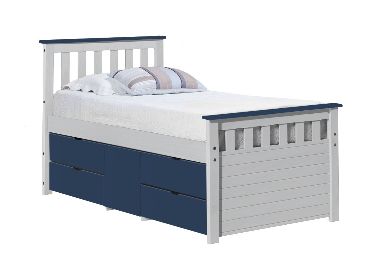 Design Vicenza Captains Ferrara Aufbewahrung Bett lang 3'0Weiß und Blau