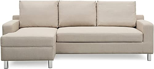 Container Furniture Direct Amelie Linen Upholstered Contemporary Modern Left-Sided Sectional Sofa