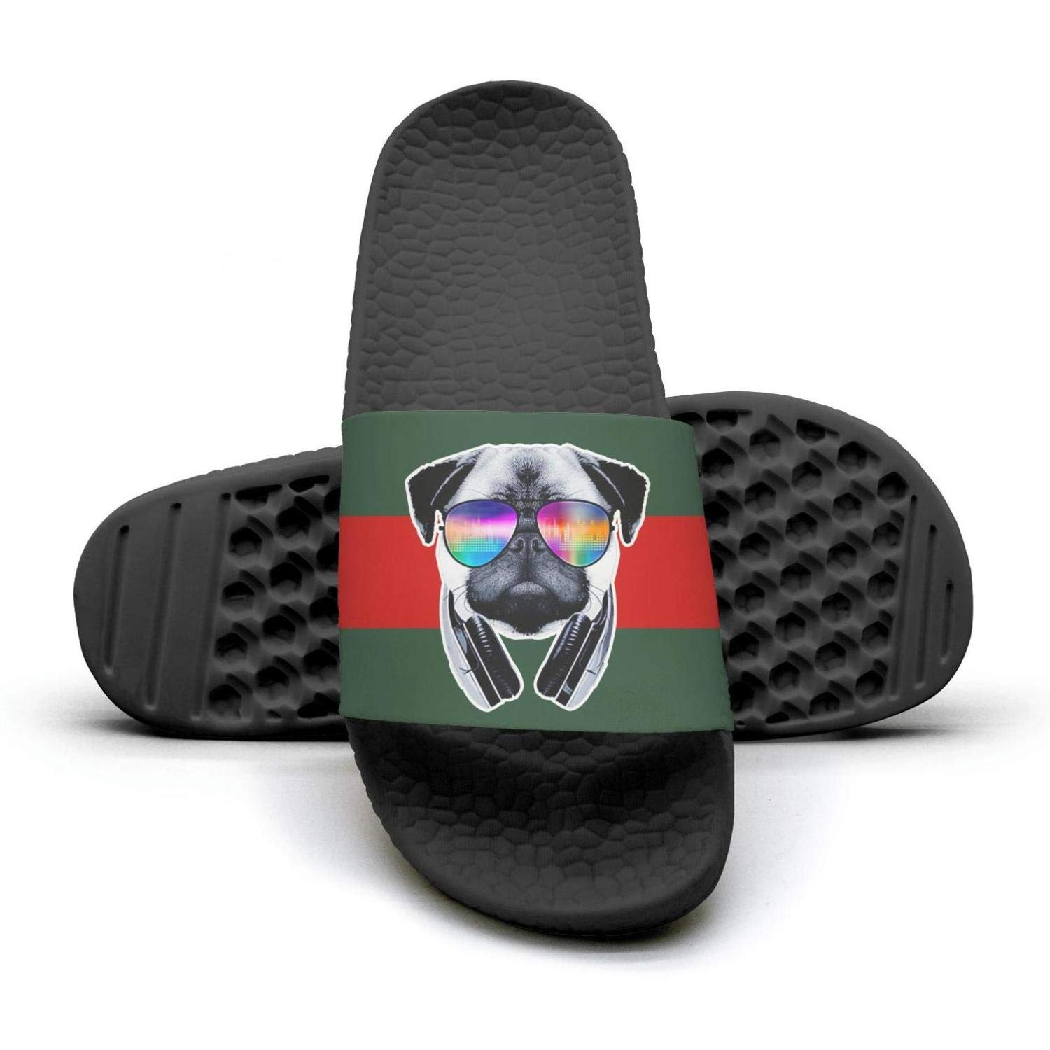 Woman pugs sunglasses Cool Music puppies red and green stripe flat Slipper Sandals lady Mules Slippers