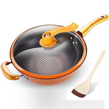 XiongDaDa Woks y sartenes salteados,Sartén Antiadherente sartén Reducir los Gases Cacerolas de 32cm-