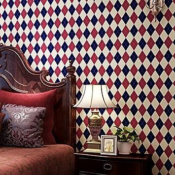 Hochwertige Amerikanisches Englisch Square Diamond Gittern Streifen Papier  Tapete High End Wohnzimmer Hintergrundbild, Rot