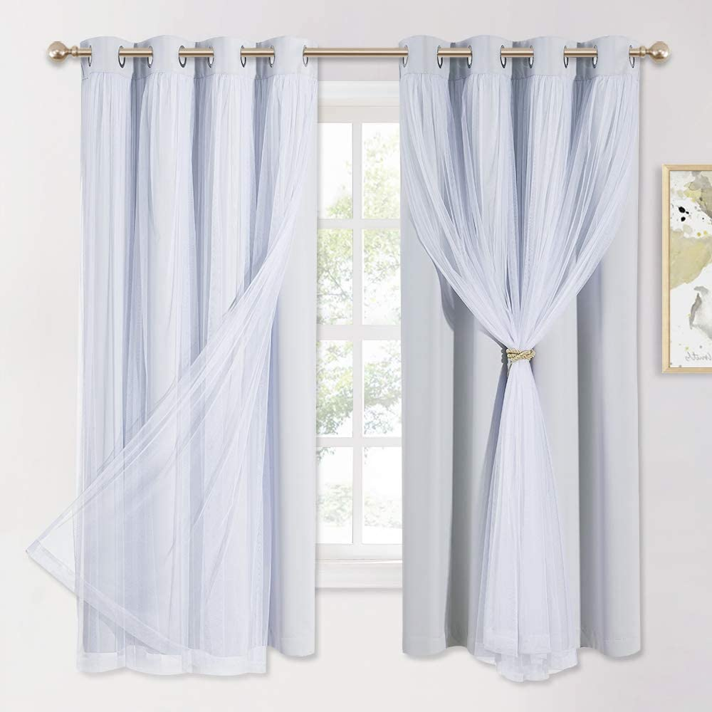 PONY DANCE White Blackout Curtains with Sheer - Curtains 63 Inches Long Grommet Top Window Panels Light Blocking Draperies for Bedroom with Extra Tie-Backs (52 inch Wide, Greyish White, 2 PCs)