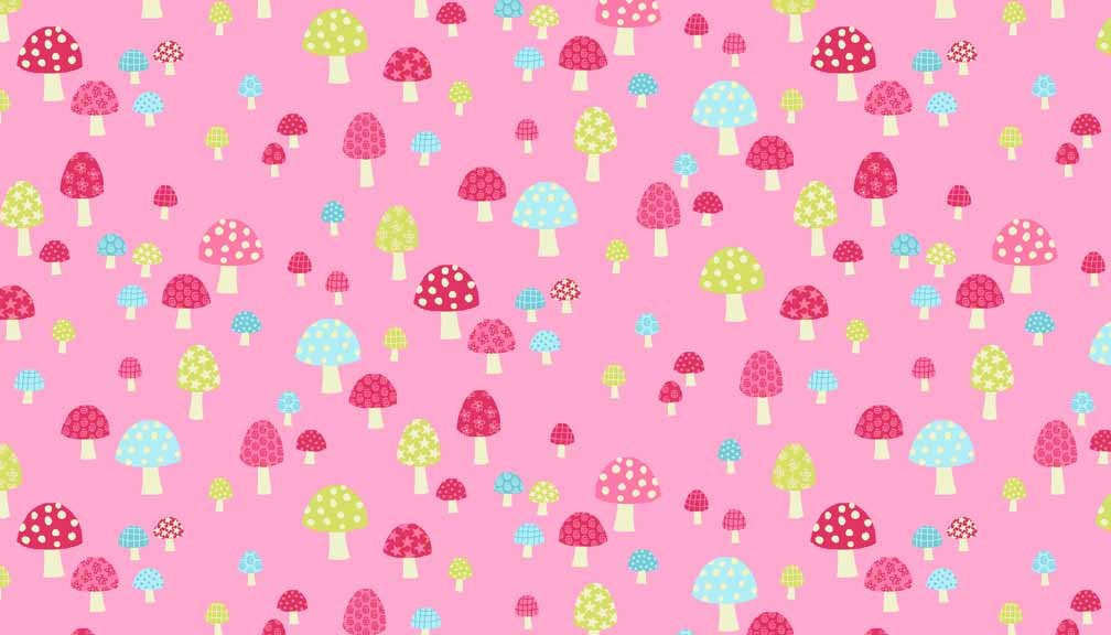 Fat Quarter Flo/'s Garden Pink Toadstools Cotton Quilting Fabric  Makower