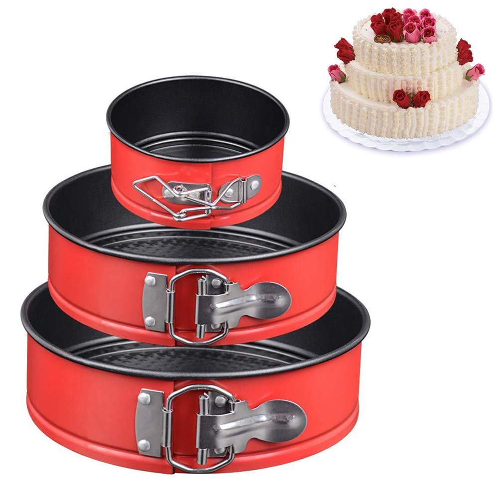 Springform Pan Set of 3 Non-stick Cheesecake Pan (4''/7''/9''),Leakproof Baking Pans for Instant Pot 6,8 Quart with Quick Release Latch Removable Bottom (Red)