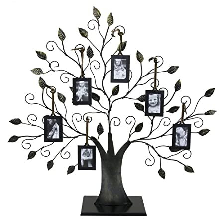 Large Bronze Family Tree Of Life Picture Holder With Six 2 X 3 Inch