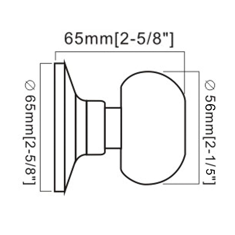 probrico Runde T/ür Griff auf Rose Edelstahl T/ürknauf Fu/ß aus geb/ürstetem Nickel Durchmesser 65 mm