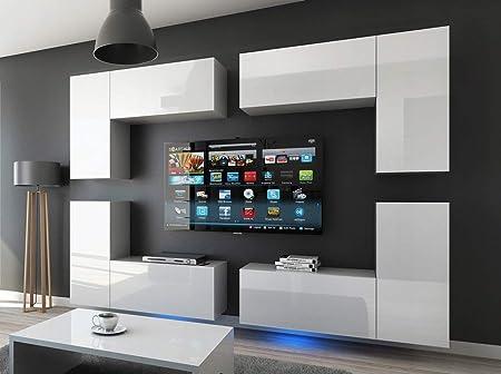 HomeDirectLTD Future 20 Moderno Conjunto De Muebles De Salón Blanco Brillante (20/HG/W/2, Azul LED): Amazon.es: Hogar