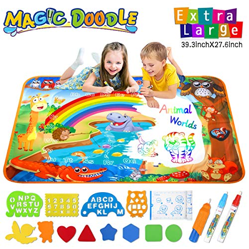 Magic Water Doodle Drawing Mat Toddler Gifts Toys For 2 3 4 Year Old Girls Boys Rainbow Multicolor Animal World Theme Educational Birthday Gifts Ideal Large Size 39.3 x 27.6 Inch 17pcs Accessories