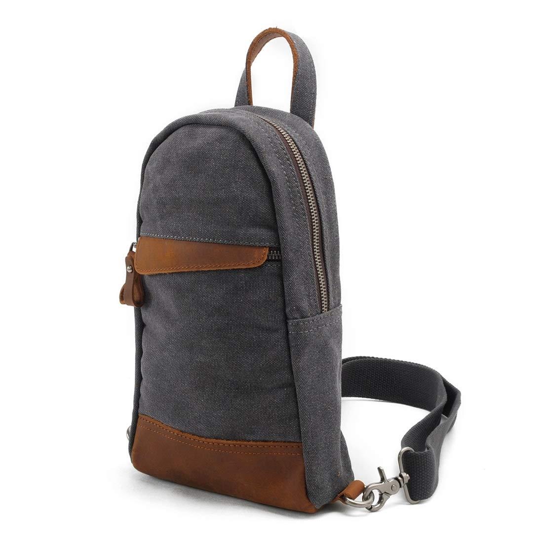 Color : Blue RABILTY Simple Retro Zipper Canvas Chest Shoulder Bag Messenger Bag