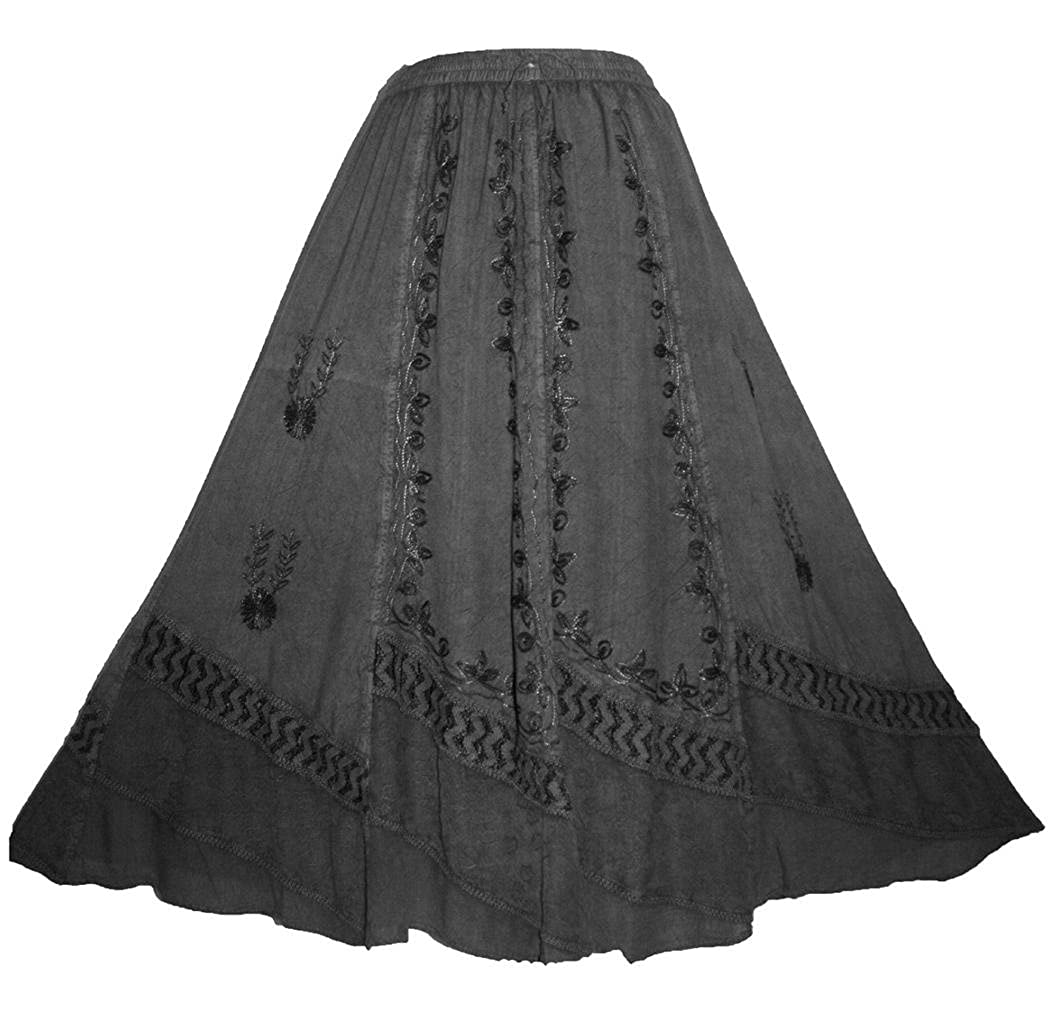 6a1d82c32d10 Medieval Rennaissance Peasant Gypsy Embroidered Net Flare Skirt. 100% Rayon  Viscose. Detailed embroidery with net and lace combination.
