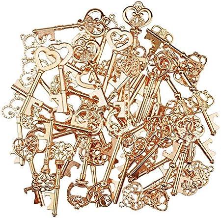 Abrebotellas con diseño de esqueleto vintage con etiquetas de regalo de papel kraft y oro 50 unidades
