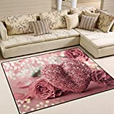 ALAZA Area Rug 7'x5′ Rosepink Valentines Love Heart And, Non-Slip Polyester Floor Mat Carpet for Living Dining Bed Room For Sale