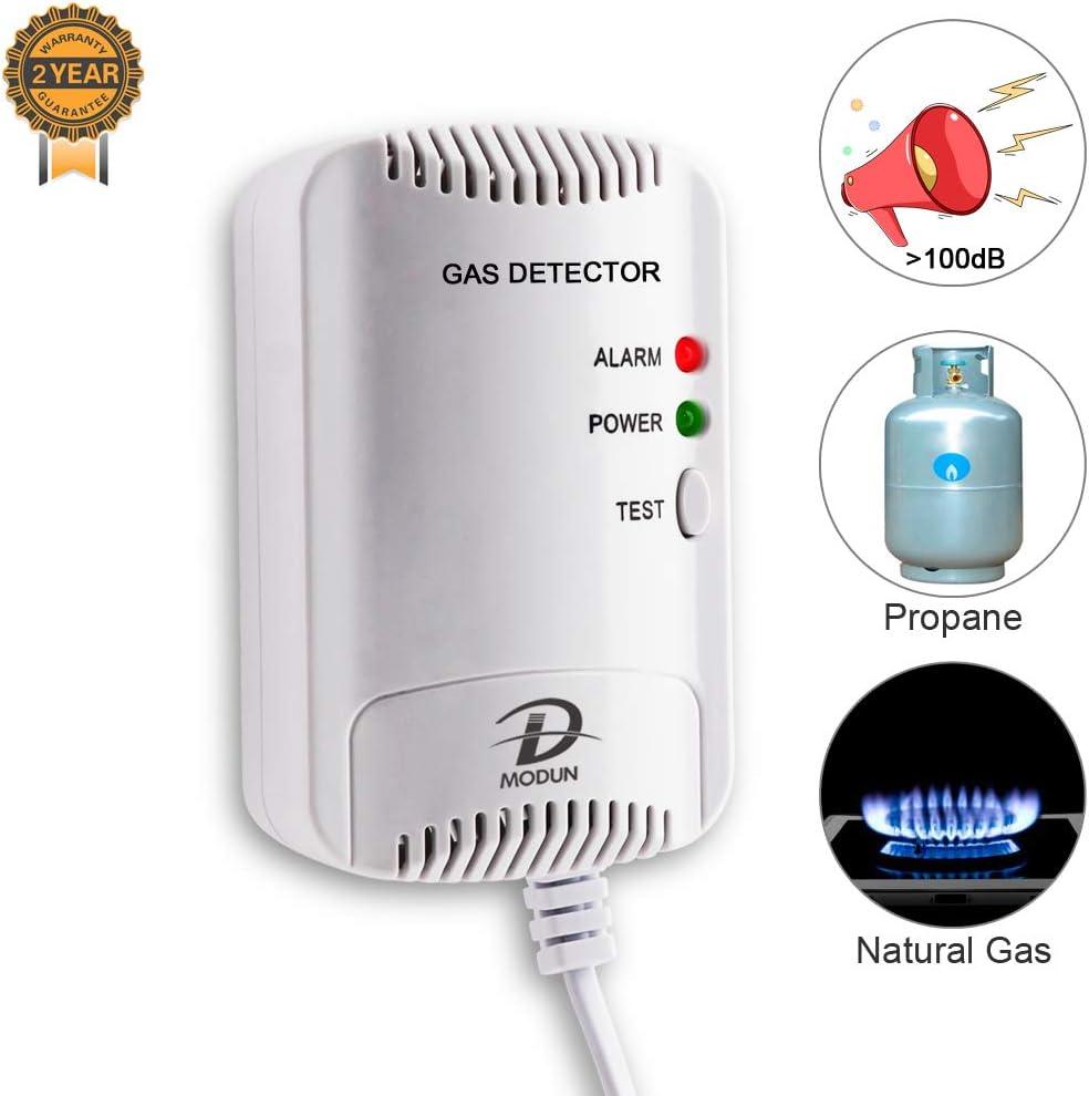 Detector de Gas, Sensor fugas de LPG/Gas Natural/gas de Carbón, Monitor de Metano Propano Butano, Advertencia de luz Estroboscópica, Alarma de gas enchufable adecuado para cocina, casa móvil, garaje