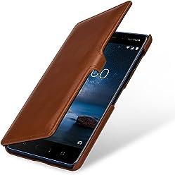 StilGut Housse pour Nokia 8 Book Type en Cuir véritable à Ouverture latérale avec Fermeture clipsée