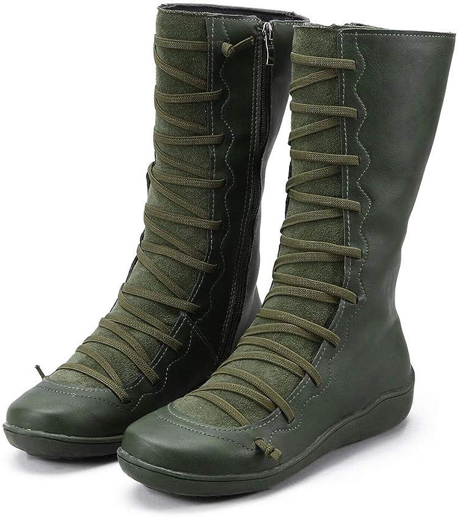 iHAZA - Botas de Piel para Mujer, diseño Vintage Plano Verde 35 EU ...