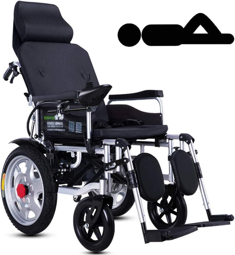 Nobuddy Sillas de Ruedas Eléctrica Ligera Plegable para Mayores discapacitados, batería de Litio de 12A, Motor Dual de 250W,Soporta 150KG,Modo Manual/Eléctrico Conmutable