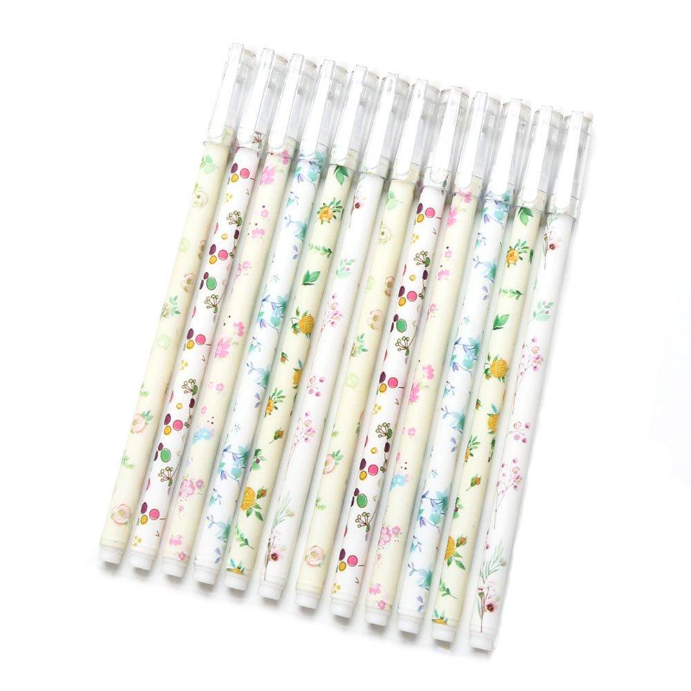 Gysad 12PCS creative gel flessibile liscio fiore penna a sfera per scuola cancelleria per ufficio cancelleria regali (consegna casuale)