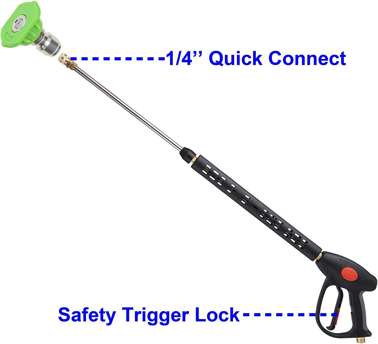4000 PSI Raccord M22 15Mm ou M22 14Mm Shumo Pistolet de Rechange pour Laveuse /à Pression avec Rallonge 40 Pouces