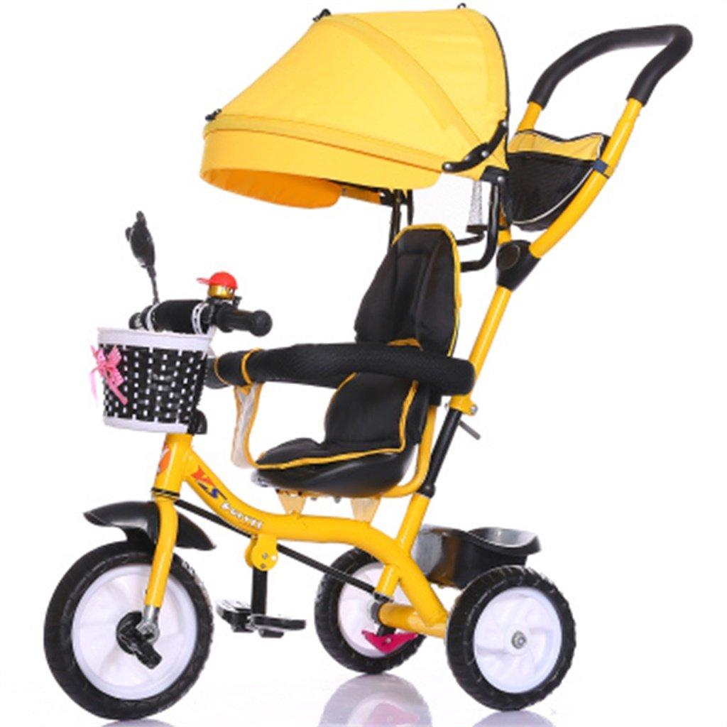 Multifuncioacute;n 4-en-1 Nintilde;o Triciclo Bicicleta Nintilde;o Bicicleta Chica de de de la nintilde;a por 6 meses -6 antilde;os Bebeacute; de tres ruedas Trolley con Toldo y Manija de los padres   Amortiguacioacute;n   Neumaacute;ticos de caucho so 953c05