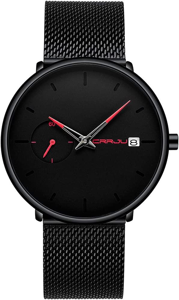 Reloj Hombre de Pulsera analógico de Cuarzo Minimalista con Fecha y Correa de Malla milanesa de Acero Inoxidable Negro para Hombre