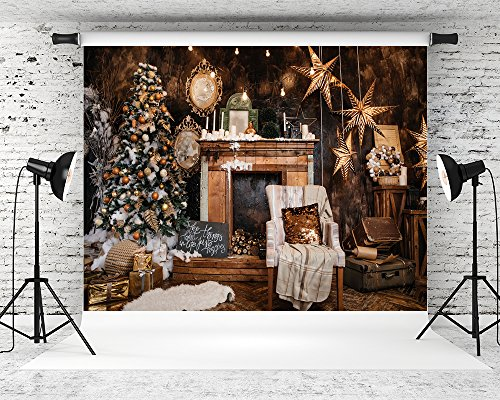 Kate 7X5ft Golden Christmas Backdrops Sequin Photography Backgrounds Gold Star Wood Photo Backdrop Kids ()