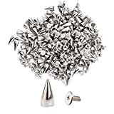 NYKKOLA 100Pcs/Set 9.5mm Silver Cone Spikes Screwback Studs DIY Craft Cool Rivets Punk - Silver