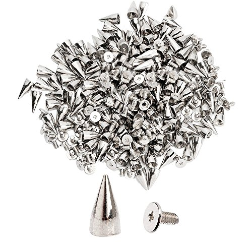 NYKKOLA 100pcs/set 9.5mm Silver Cone Spikes Screwback Studs DIY Craft Cool Rivets Punk]()