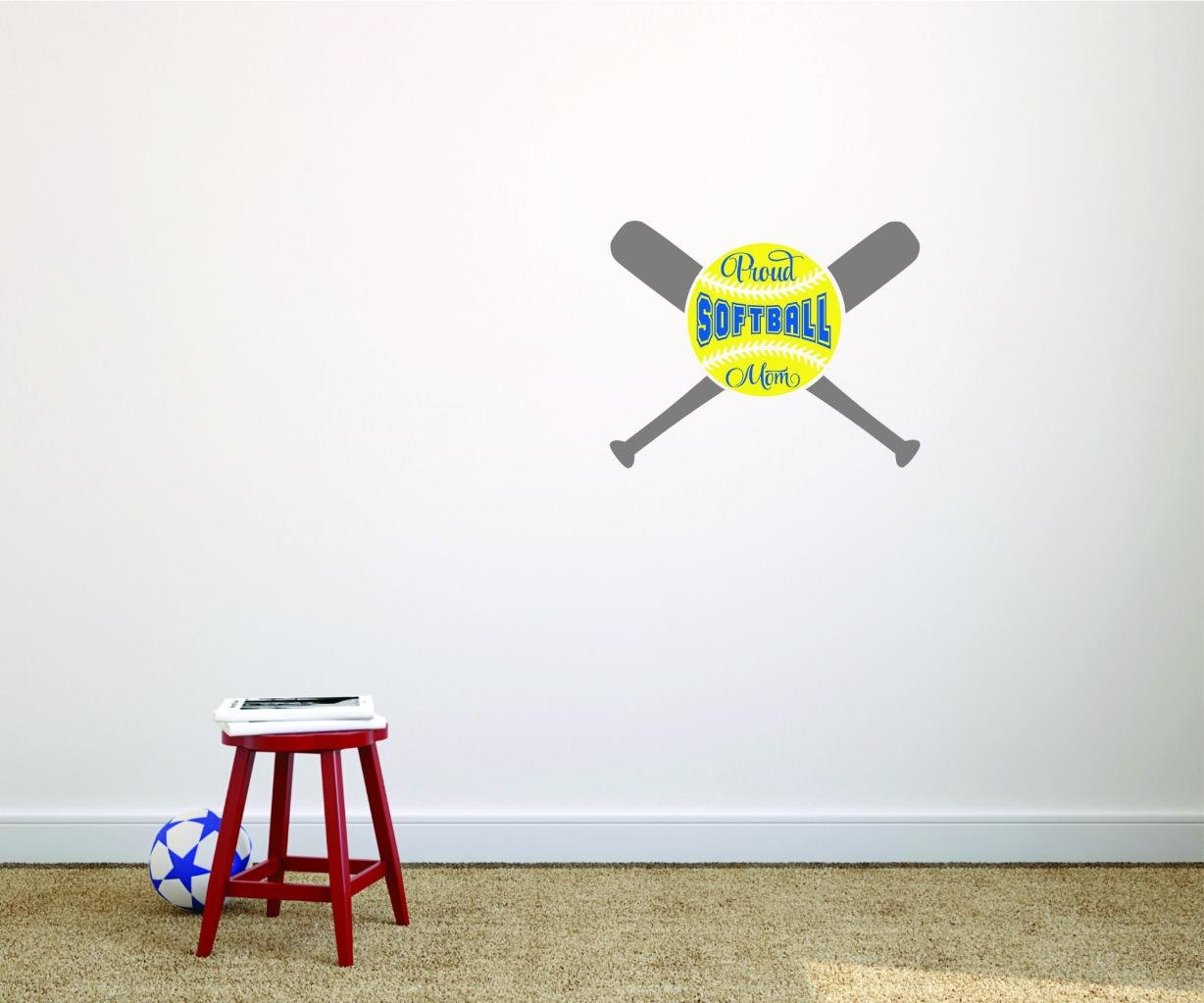 Proud Softball Mom Sports Son Daughter Boy Girl Teen Color Design with Vinyl Moti 2695 4 Decal Peel /& Stick Wall Sticker As Seen Size 20 Inches x 20 Inches