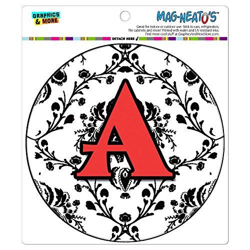 (Graphics and More Letter A Initial Damask Elegant Red Black Automotive Car Refrigerator Locker Vinyl Magnet)
