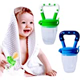 Hibery 2 Pack Baby Food Feeder, Baby Fruit Net, Fresh Food Feeding Nipple, Fruit Teether, Silicone Feeder with Fresh Food