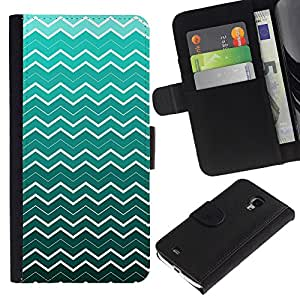KingStore / Leather Etui en cuir / Samsung Galaxy S4 Mini i9190 / Ondas del papel pintado del arte de la turquesa blanca