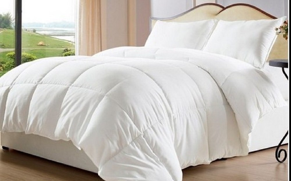 Web Linens Inc Oversized-Reversible Solid & Striped-Down Alternative Comforter with Corner Tabs-King - Exclusively by BlowOut Bedding RN #142035
