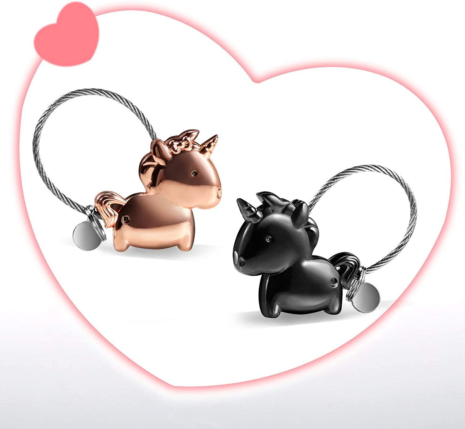 Zinc Alloy Key Chain Shiny LHKJ Keyring Kissing Unicorn Keychain with Magnetic for Couple Lovers Sweet Gift for Valentines Christmas Wedding Black and Rosegold