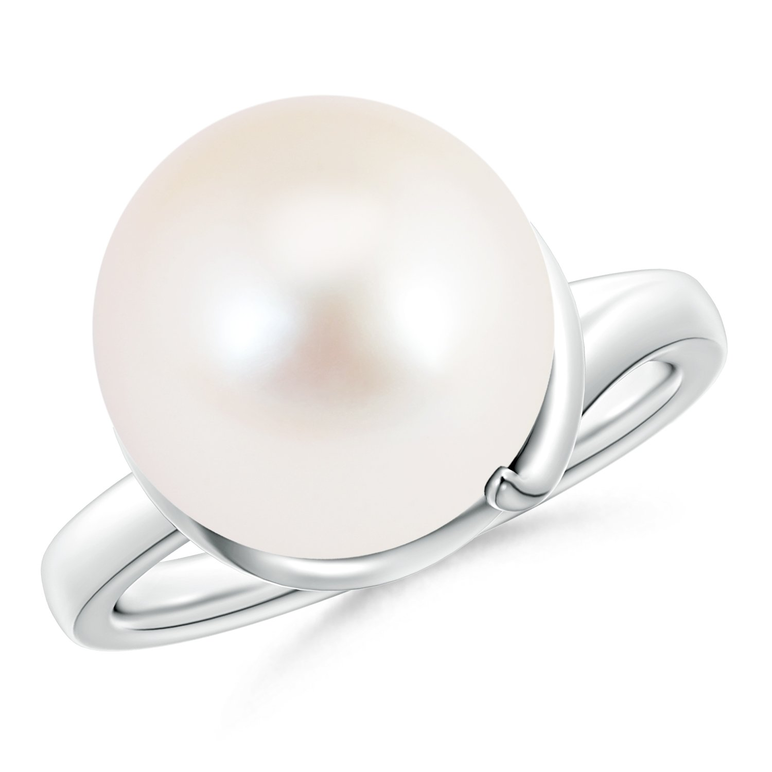 Twist Round Freshwater Cultured Pearl Wrap Ring with Spiral Metal Loop in 14K White Gold (12mm Freshwater Cultured Pearl)