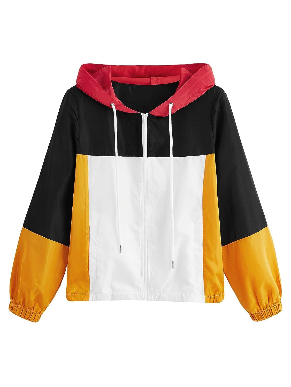 Black_yellow SweatyRocks Women's colorful Splash Printing Zip Up Windbreaker Jacket with Hood