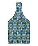 Lunarable Arabian Cutting Board, Eastern Architectural Patterns Colorful Tile Traditional Arabic Flowers Geometric, Decorative Tempered Glass Cutting and Serving Board, Wine Bottle Shape, Multicolor