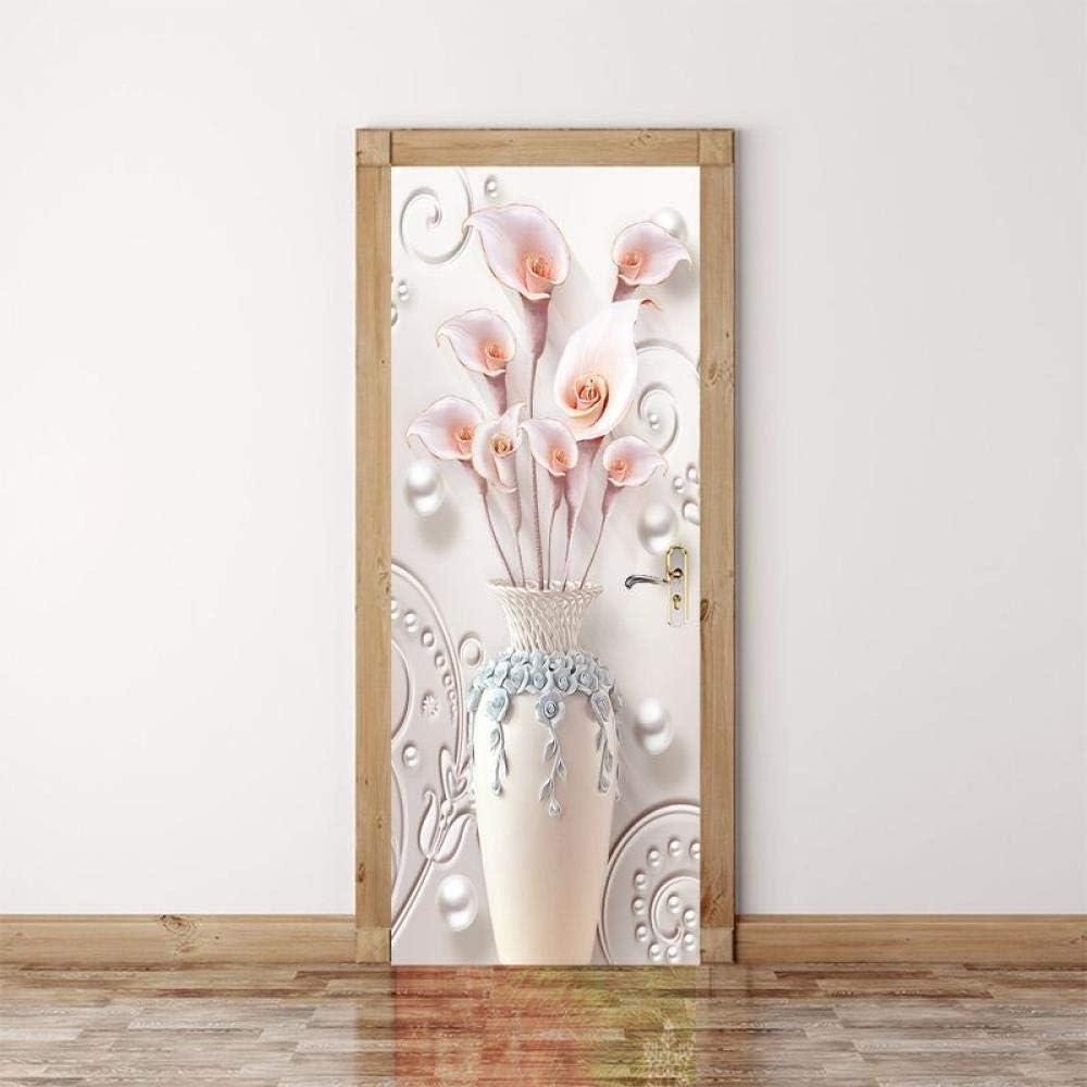TACBZ 3D Imprimir Vinilo Puerta De La Habitación Tatuajes De Pared Murales De Pared Pegatinas Carteles Diy Decoraciones Del Arte Para Decoracionesflor De Cúrcuma Tridimensional 95X215Cm2Pcs / Set: Amazon.es: Bricolaje y herramientas