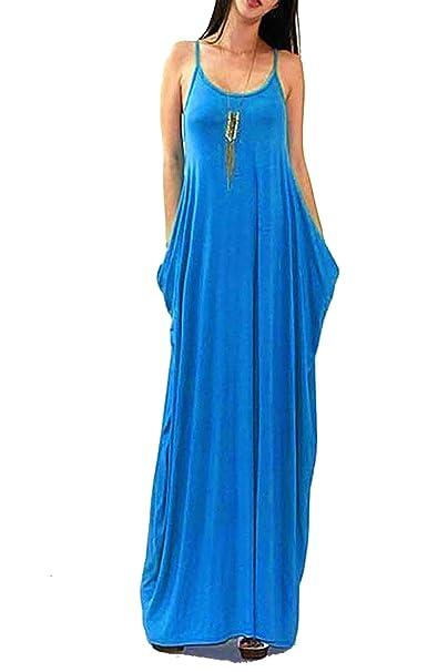 cccb652f53 Vivicastle Batwing Oversized Loose Plain Summer Sleeveless Pocket Long Maxi  Dress (Small, Cobalt)