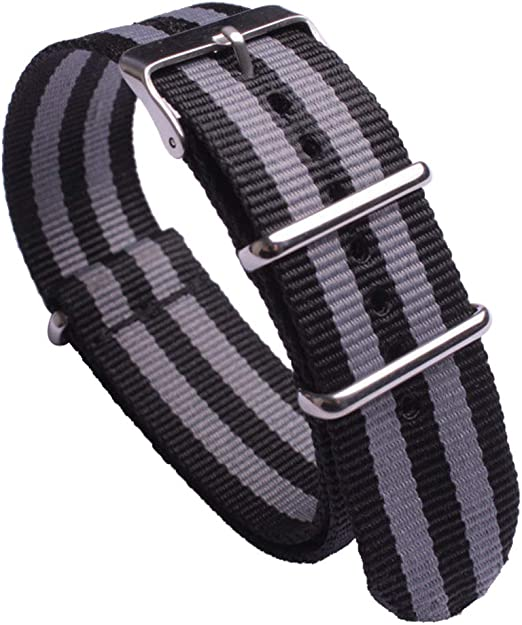 James Bond Nato Nylon Watch Straps With Stainless Steel Buckle Premium Watch Bands Black And Gray Wristband Width 24mm Amazon Com